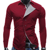 Checked Placket Design Long Sleeve Shirt