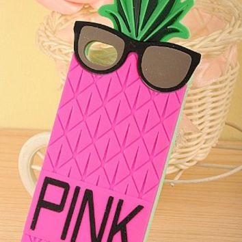 Big Mango Superior Quality 3D Cute Pineapple with Black Glasses Design Soft Silicone Gel Protective Case Cover for Apple iPhone 4 4s 4g Plum