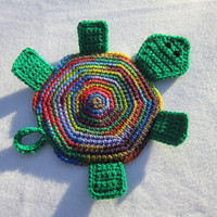 Turtle Pot Holder Crocheted Turtle Hot Pad in So Many Colors, Colorful Turtle Trivet by Crocheted by Charlene