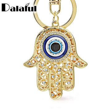 Lucky Charm Amulet Hamsa Fatima Hand Evil Eye Keychains Purse Bag Buckle Pendant For Car Keyrings key chains holder women K236