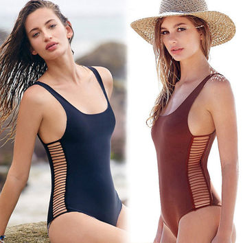 New One Piece Swimsuit Monokini Womens Sexy Bandage Brazilian Bikini High Waist Vintage Swimwear Summer Bathing Suit Beach Wear