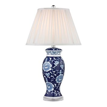 D2474 Hand Painted Ceramic Table Lamp In Blue And White With Acrylic Base - Free Shipping!