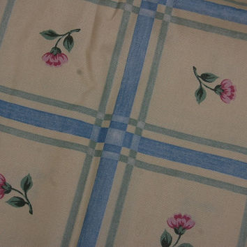 Vintage Yellow & Blue Floral Windowpane Plaid Upholstery Fabric 1 2/3 yds. x 54 inches wide