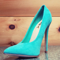 "Alba Ricky Mint Micro Suede Pointy Toe Pump Shoe 4.5"" Stiletto High Heels 6- 11"
