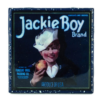 Handmade Coaster Jackie Boy Brand - Vintage Citrus Crate Label - Handmade Recycled Tile Coaster