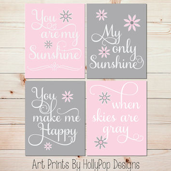 Pink Gray Nursery Decor Baby You Are My Sunshine Art Prints Toddler S Room
