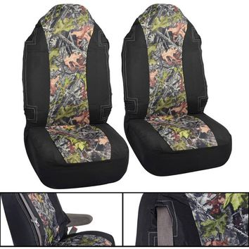 Camo High Back Seat Covers for Truck, 2pc Black and Camo with Built in Seatbelt For Pickup Truck and SUV