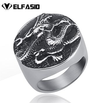 Men's China Dragon Yin and yang tai chi Chinese Style Stainless Steel Ring Fashion Jewelry US Size 8-13