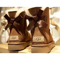 """UGG"" Trending Women Stylish Cute Bow Wool Snow Boots Brown I/A"