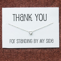 Thank you for Standing by my Side Gift Card Girl Teen Silver Toned White Heart Pendant Necklace