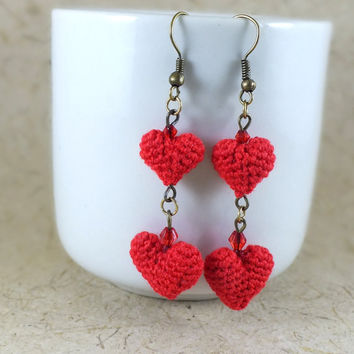 Mini Red Heart Crochet Dangle Earrings with Crytals