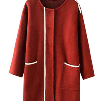 Long Sleeves Color Block Knitted Coat With Pockets
