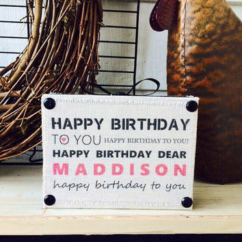 Wood Signs Happy Birthday Sign Personalized Wooden Shelf
