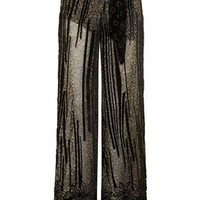 Velvet Burnout Floral Trousers - Black