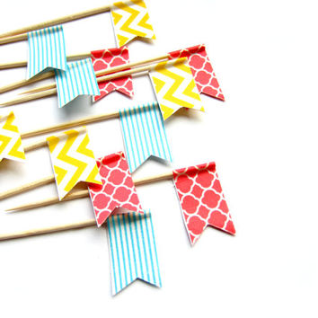 12 Colorful Flag Cupcake Toppers - Washi Tape Cupcake Toppers - wedding, engagement, birthday, baby shower, tea party