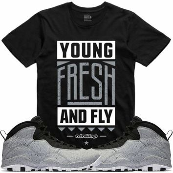 Air Jordan 10 Light Grey Smoke Sneaker Tees Shirt - YOUNG FRESH