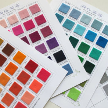 100% Merino Wool Felt Swatch Sample Set  Color Card  - 112 Color Samples - Fabric Swatches - Swatch Catalog