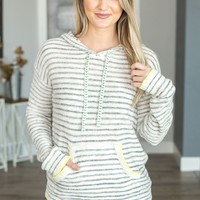 Lucky in Love Striped Hoodie