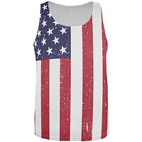 4th of July American Flag Distressed All Over Adult Tank Top