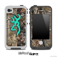 The Teal Camo Browning Skin for the iPhone 4/4s or 5 LifeProof Case