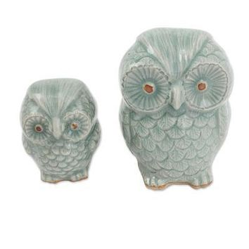 Light Blue Owl Figurines (Pair) - Handmade Celadon Ceramic from Thailand