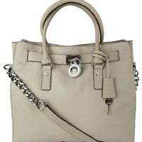 Michael By Michael Kors Hamilton Large Leather Vanilla/White Tote Bag 51% off retail
