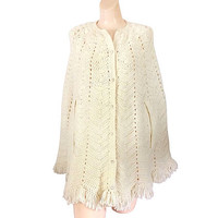 Fringe Cape 60s Cape Sweater Cape Knit Cape Blanket Sweater Ivory Sweater Crochet Shawl Fringe Shawl Wraps Shawls Fringe Poncho Winter