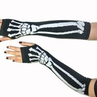 New Black Punk Gothic Dark Rock White Skeleton Long Arm Warmer Fingerless Gloves