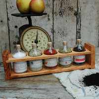 Apothecary Spice/Tea Rack Reclaimed hard wood drug by PegandAwl