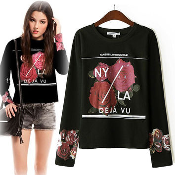 Print Round-neck Long Sleeve Black Hoodies Ladies Blouse [6400317188]