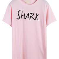 Pink Shark And Letter Print Short Sleeve T-shirt