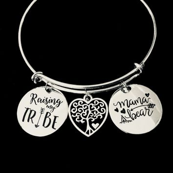 Mama Bear Raising My Tribe Adjustable Bracelet Tree of Life Silver Expandable Charm Bracelet Bangle Trendy Mother Mom Family Gift