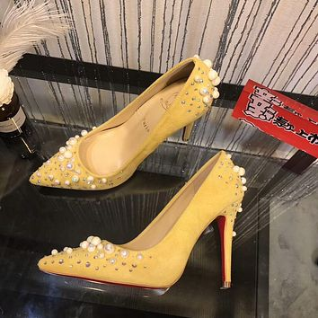 Christian Louboutin CL Women Fashion Pearl Heels Shoes 10CM