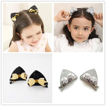 2017 Kawaii Cat Ears Girls Kids Hair Clips Hairpin Haar Accessories For Children Hair Bow Ornaments Barrette Headdress Hairclip