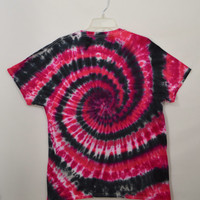 Tie Dye Shirt Large Black Hippie Soft Grunge Red Spiral T Shirt Mens Womens Unisex Clothing Handmade Tie Dye