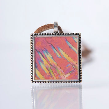 homemade necklace, abstract photography, unique gift, square pendant, women's accessories, functional art, for her, bold pattern, hippie