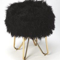 Ezra Black Faux Fur Stool
