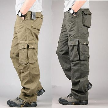Fashion Men Cargo Pants Plus Size 30-38 Military For Men Multi Pockets Overalls Loose Fit Cotton Causal Work Trousers