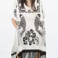 Embroidery Batwing Short Sleeve Fringed Blouse