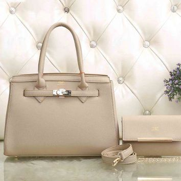 UCANUJ3V Hermes Women Fashion Leather Satchel Tote Handbag Shoulder Bag Crossbody Set Two-Piece-2