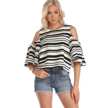 Black Puffy Sleeve Stripe Top
