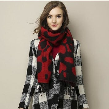 Cow Pattern Tassel Wrap Scarf