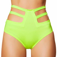 Neon Green High-Waisted Strapped Booty Shorts