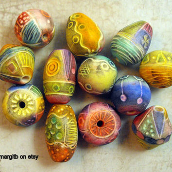 6 Big  Artisan Statement Beads - Handmade from Polymer Clay