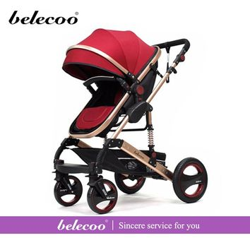Belecoo Strollers Portable Lightweight Baby Carriage High Landscape Outing Travel Car