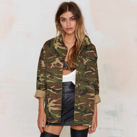 Rachelcoco New Women Army Green Camo Casual Zipper Coat Long Sleeve Turn Down Collar Female Pockets Jacket Loose Womens Overcoat