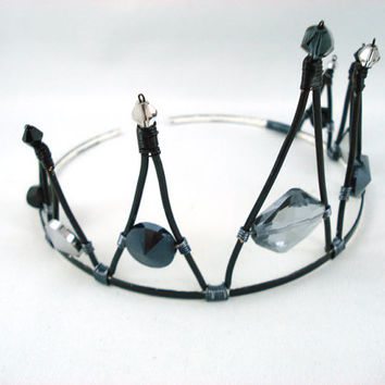 Ursula Black Gothic Bridal Tiara - Made to Order