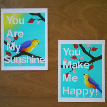 You Are My Sunshine, You Make Me Happy, two 8 x 11 prints, whimsical nursery art, childrens wall art