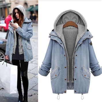 Warm autumn winter new 2018 fashion Thick cowboy Winter Women Warm Collar Hooded Coat Jackets Denim Trench Parka Outwear