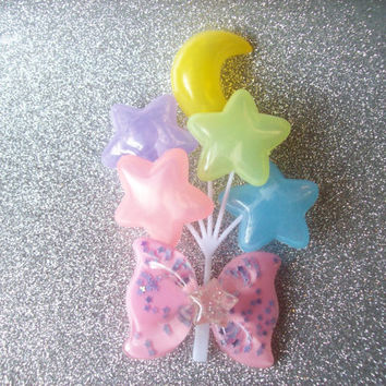 Fairy Kei Carnival - Pastel Moon and Star Balloon Hair Clip II